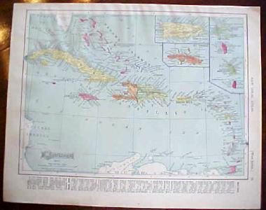 Antique Map British North America Mexico 1909 Nice Colors