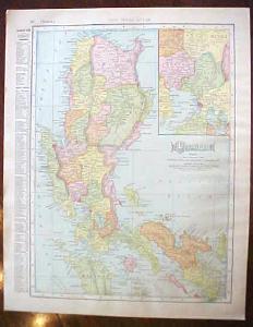 Antique Map Hawaii Luzon Island 1909 Nice Colors