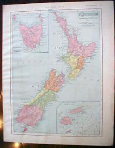 Antique Map New Zealand Tasmania Fiji Islands 1909 Nice Colors