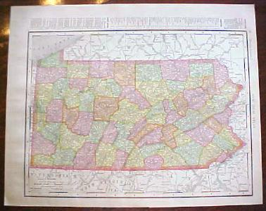 Antique Map Pennsylvania New Jersey 1909 Nice Colors