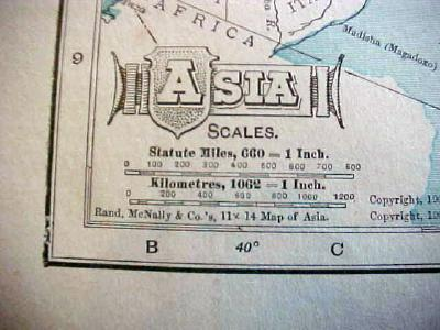 Antique Map Africa Asia 1909 Nice Colors