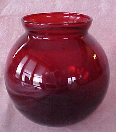 Ruby Red Rose Flower Bowl Globe Shape