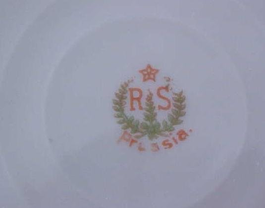 R. S. Prussia Cake Plate White Floral Scallop Edges