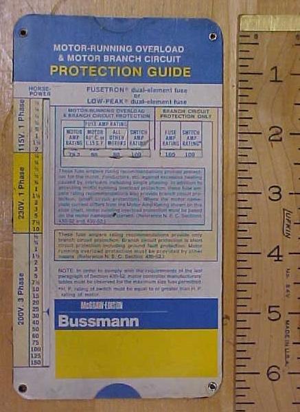 Bushmann Motor Running Overload & Branch Circuit Calculator