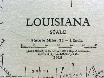 Antique Map Louisiana 1915 Great Colors