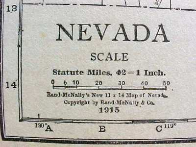 Antique Map Nevada 1915 Great Colors