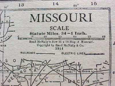 Antique Map Missouri 1915 Great Colors