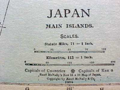 Antique Map Japan China Siam Chosen 1915 Great Colors