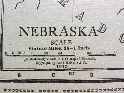Antique Map Nebraska 1915 Great Colors