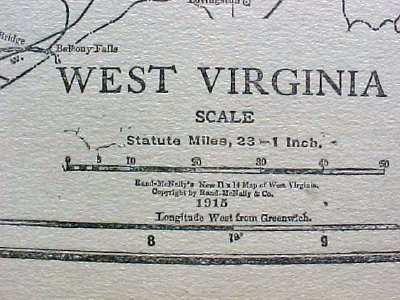 Antique Map West Virginia 1915 Great Colors