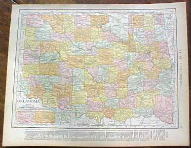 Antique Map Oklahoma 1915 Great Colors