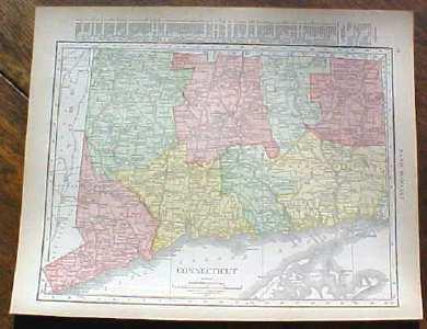 Antique Map Connecticut 1915 Great Colors