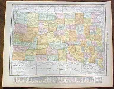Antique Map South Dakota 1915 Great Colors