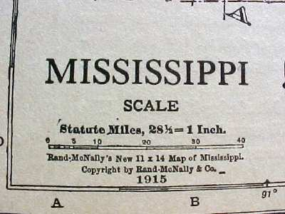 Antique Map Mississippi 1915 Great Colors