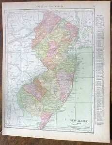 Antique Map New Jersey 1915 Great Colors