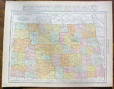 Antique Map North Dakota 1915 Great Colors