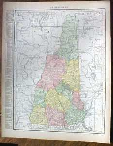 Antique Map New Hampshire 1915 Great Colors