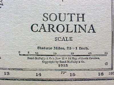 Antique Map South Carolina 1915 Great Colors