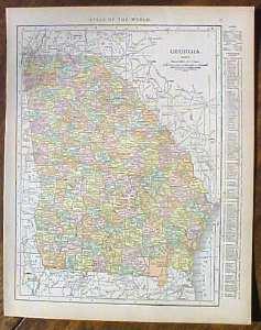 Antique Map Georgia 1915 Great Colors