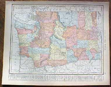 Antique Map Washington 1915 Great Colors