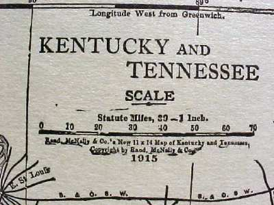 Antique Map Kentucky Tennessee 1915 Great Colors