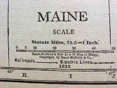 Antique Map Maine 1915 Great Colors