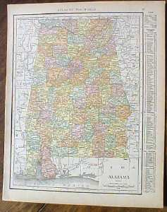 Antique Map Alabama 1915 Great Colors