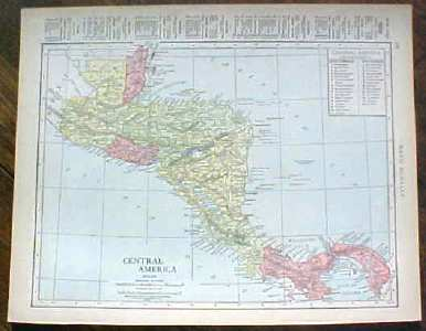 Antique Map Central America 1915 Great Colors
