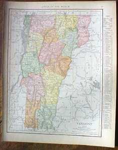 Antique Map Vermont 1915 Great Colors