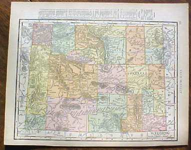 Antique Map Wyoming 1915 Great Colors