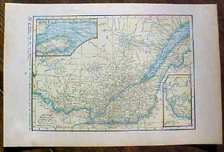 Antique Map Quebec 1923 Nice Size