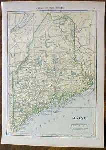 Antique Map Maine & Vermont 1910