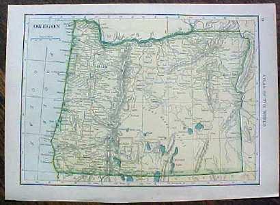 Antique Map Navada & Oregon 1910
