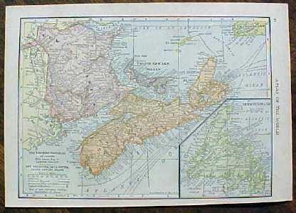 Antique Map Canada & Maritime Provinces 1910