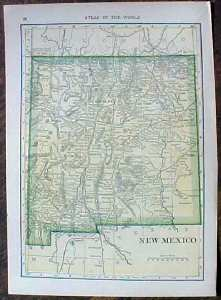Antique Map Colorado & New Mexico 1910