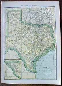 Antique Map Texas & Oklahoma  1910