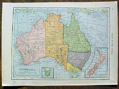 Antique Map Pacific Islands 1910