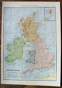 Antique Map British Isles & Germany Western Section 1910
