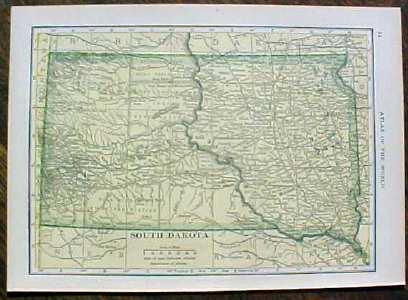 Antique Map North & South Dakota 1910