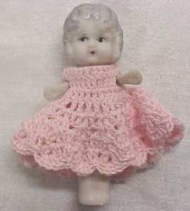 Miniature All Bisque Doll Flapper Style Pink Dress