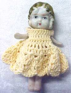 All Bisque Miniature Doll Yellow Dress