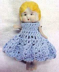All Bisque Miniature Doll  Blue Dress
