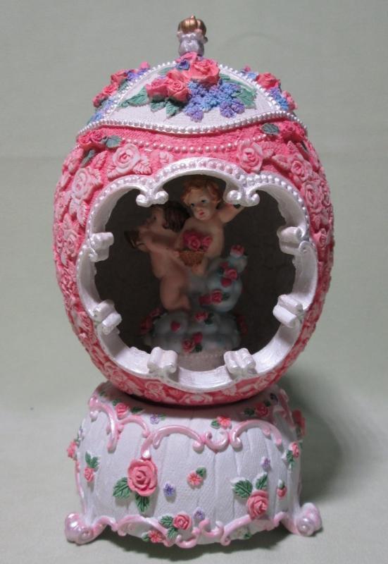Music Box Ornate Egg Roses 3D Design