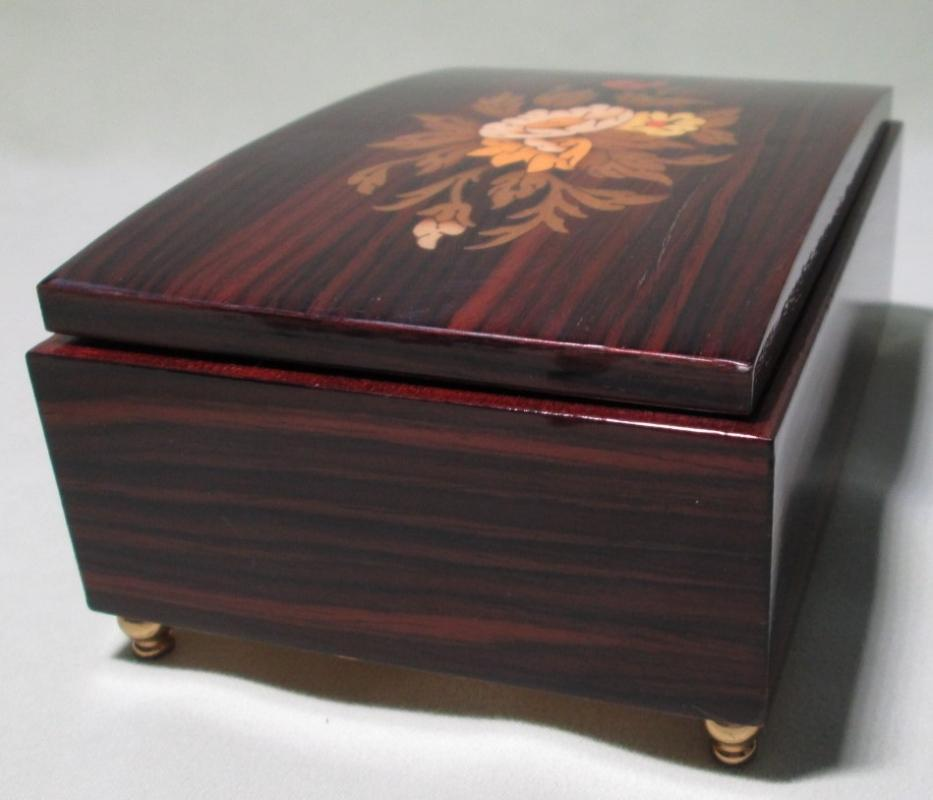 Music Box Inlaid Wood Floral Pattern Mahogany