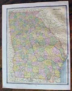 Antique Map South Carolina Georgia Crams 1883