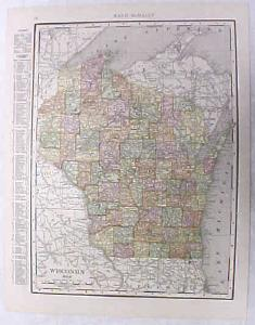 Antique Map Wisconsin 1916 Nice Details & Colors