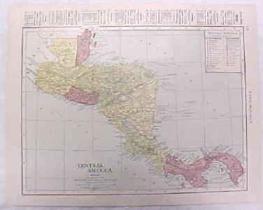 Antique Map Central America 1916 Nice Details & Colors