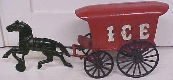 Kenton Horse Drawn Ice Wagon Single Horse Rare Toy!