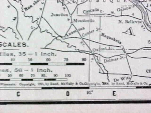 Map Wisconsin & Minnesota 1907 Rand McNally