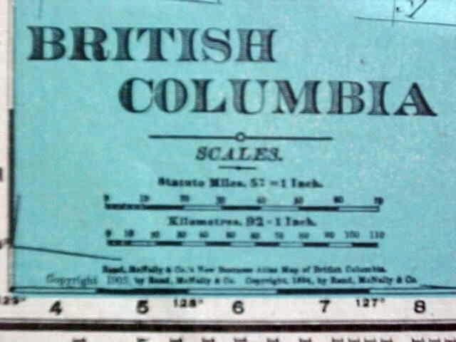 Map British Columbia 1907 Rand McNally